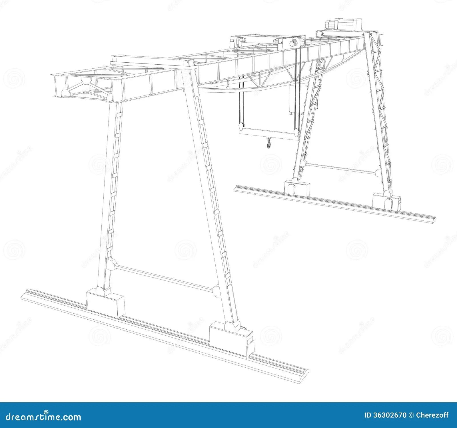 Gantry Crane. Wire-frame. Vector Stock Illustration