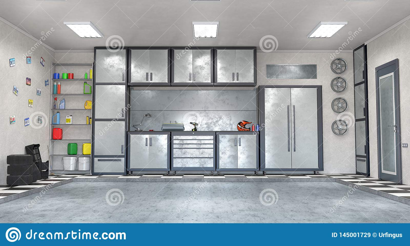 Garage Interior Stock Illustration Illustration Of Building 145001729
