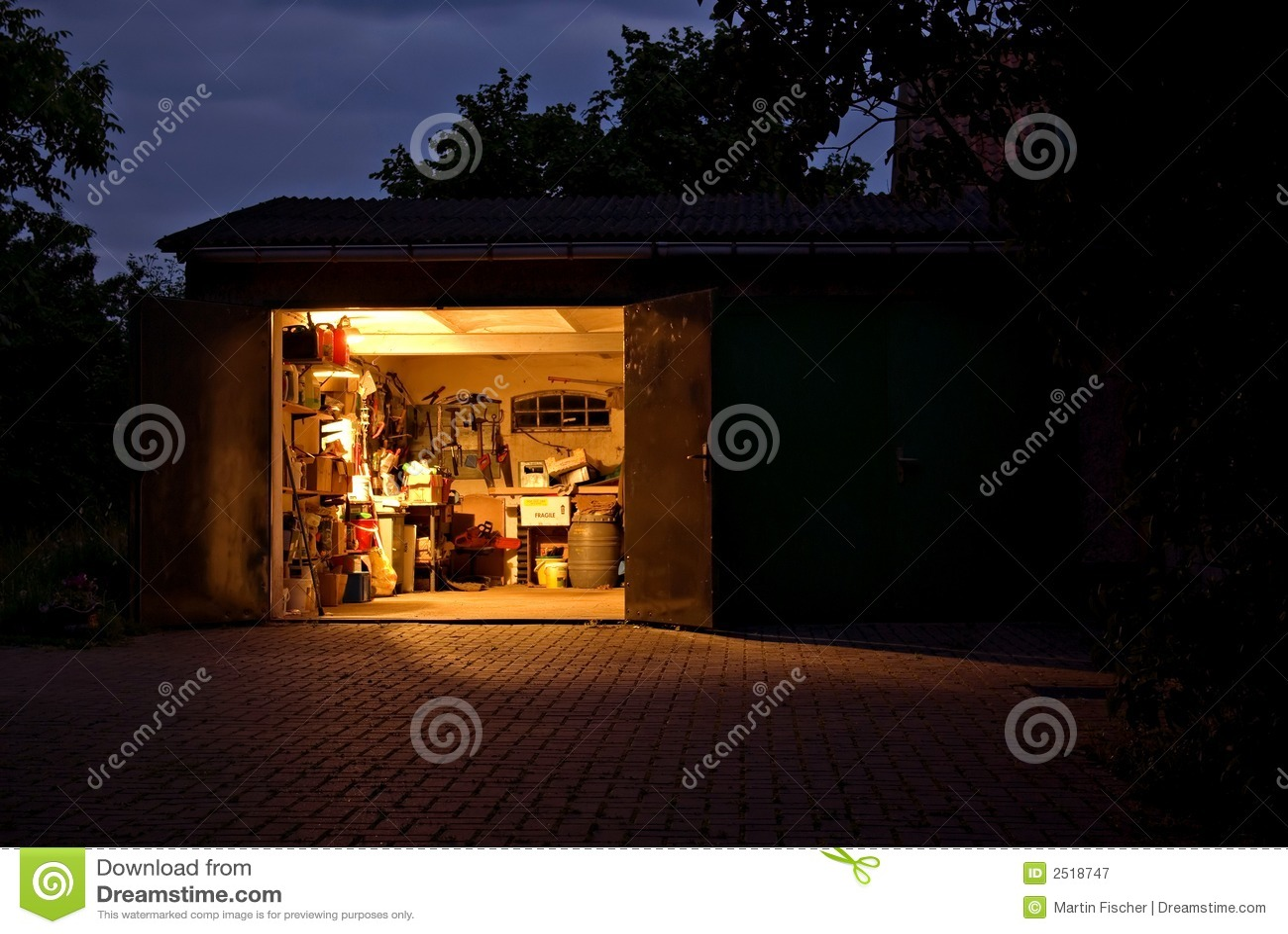 Garage workshop at night stock image Image of make lights  2518747