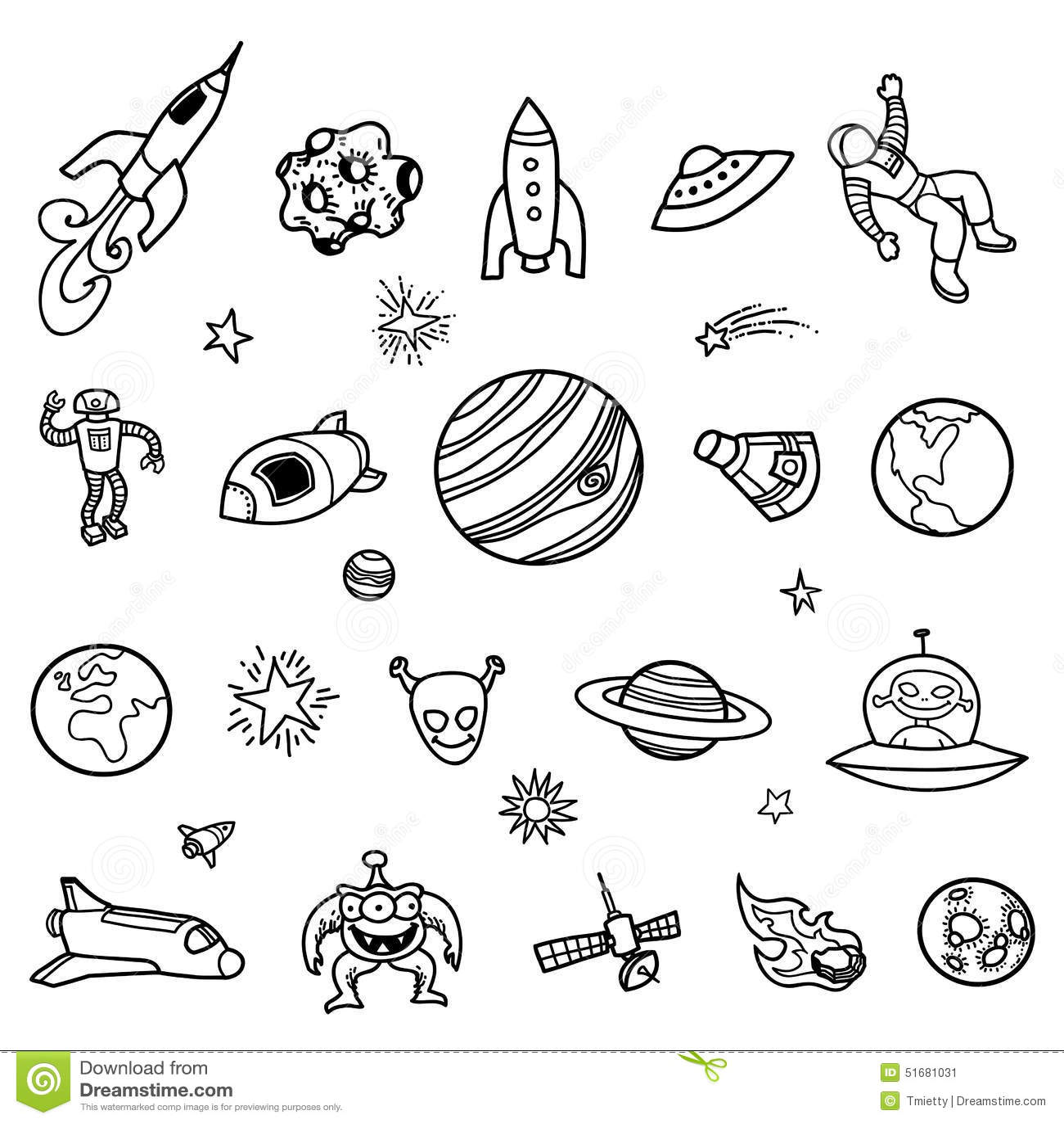 Garatujas Desenhados A Mao Do Espaco Ilustracao Do Vetor
