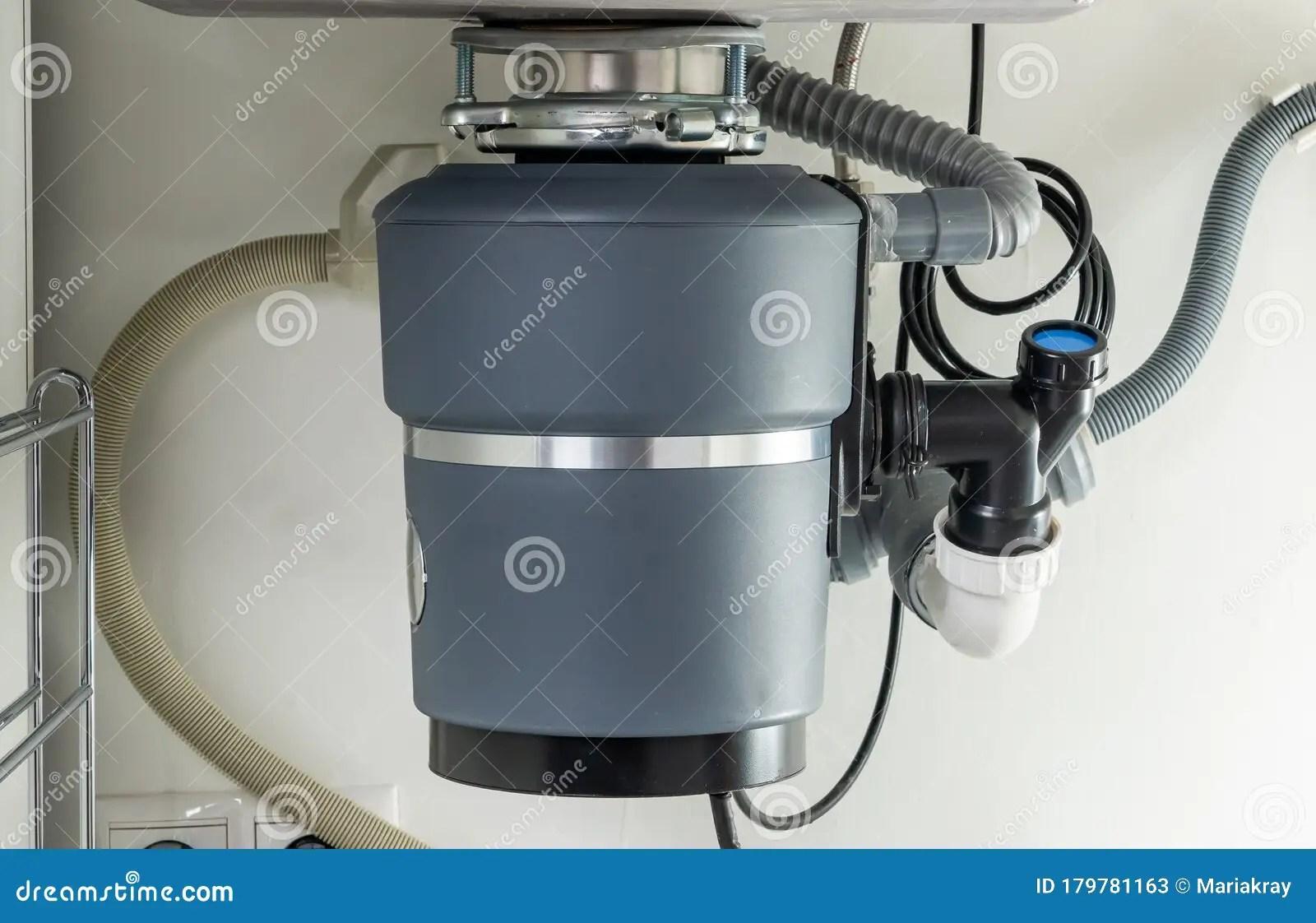 garbage disposal under the modern sink waste chopper concept stock image image of detached grinder 179781163