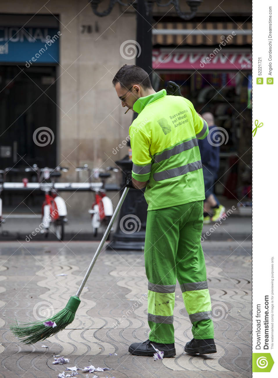 Garbage Man Sweeping The Road Barcelona Spain Editorial Photo  Image 52221721