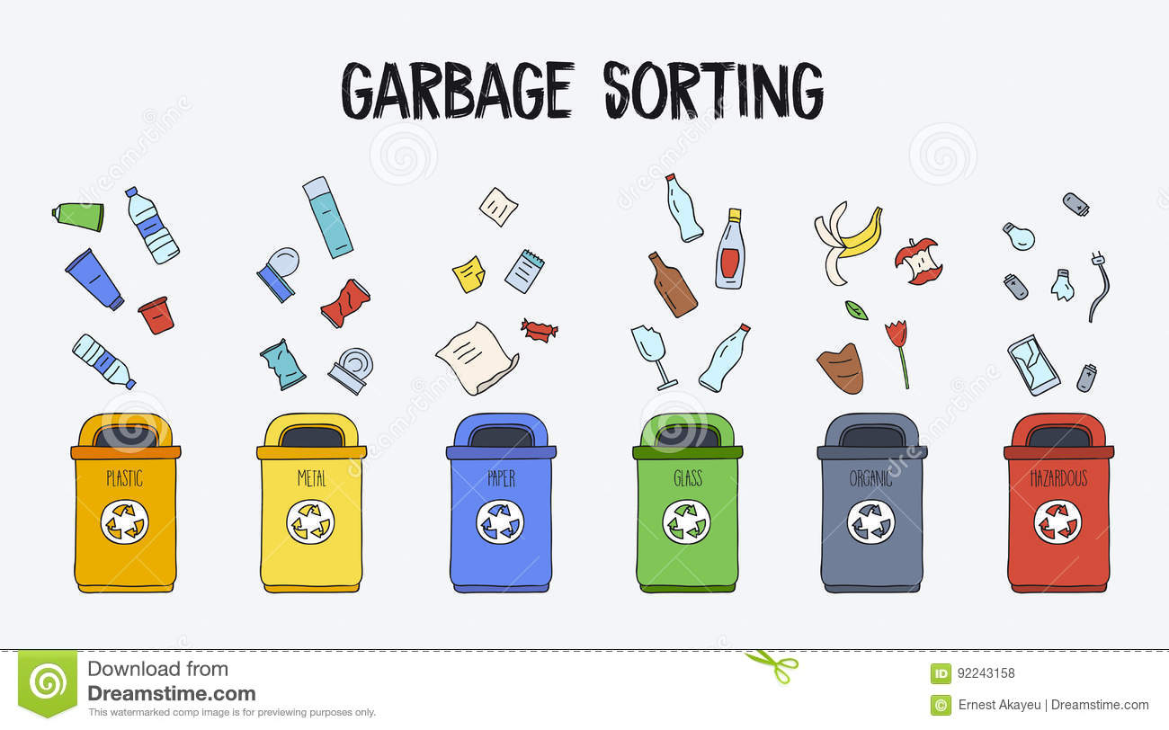 Garbage Sorting Concept Trash Cans With Different Types