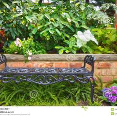Wrought Iron Chair Dining Room Slipcovers Armless Chairs Garden Bench Stock Photo. Image Of Plants, Nobody, - 24598098