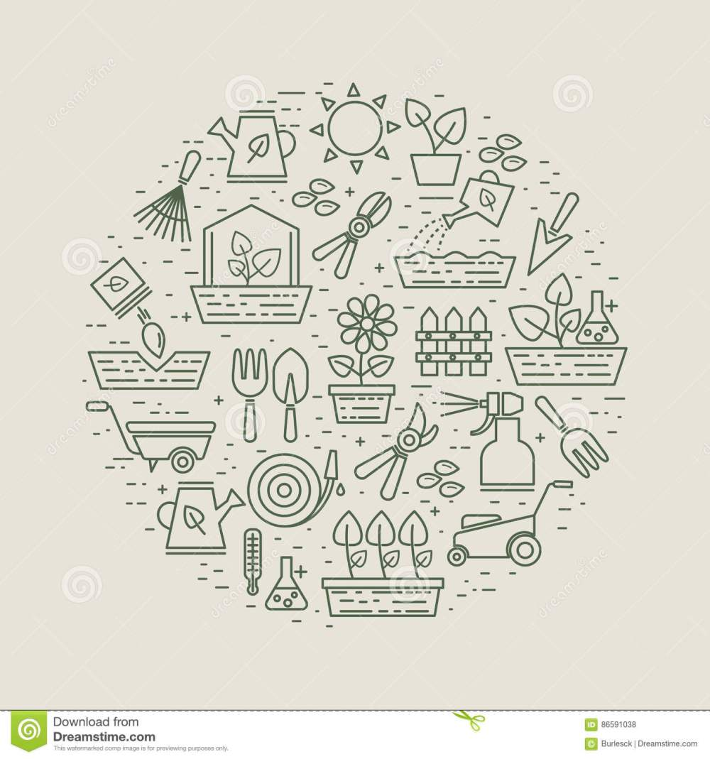 medium resolution of garden and gardener linear label with flowers and plants garden tools and seeds farming instrument for cultivation and growth plants vector illustration