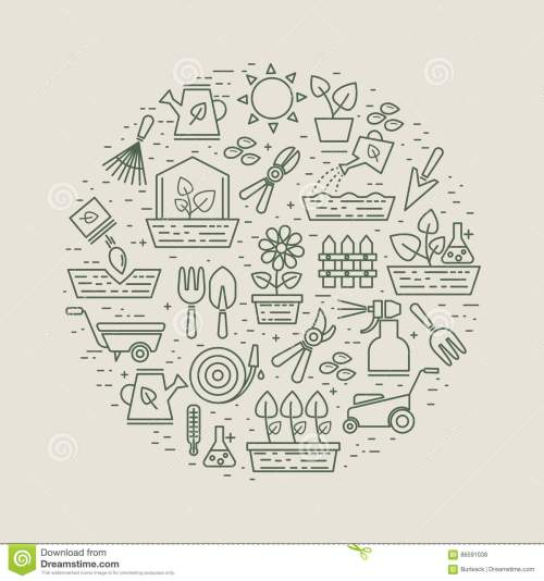 small resolution of garden and gardener linear label with flowers and plants garden tools and seeds farming instrument for cultivation and growth plants vector illustration