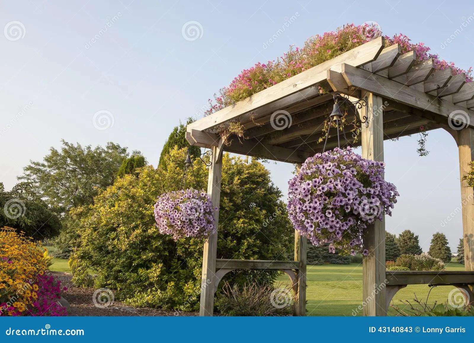 Garden Pergola With Walking Path Stock Image Image Of