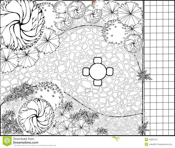 garden plan black and white stock