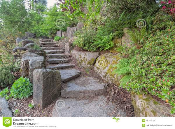 garden stair steps with natural