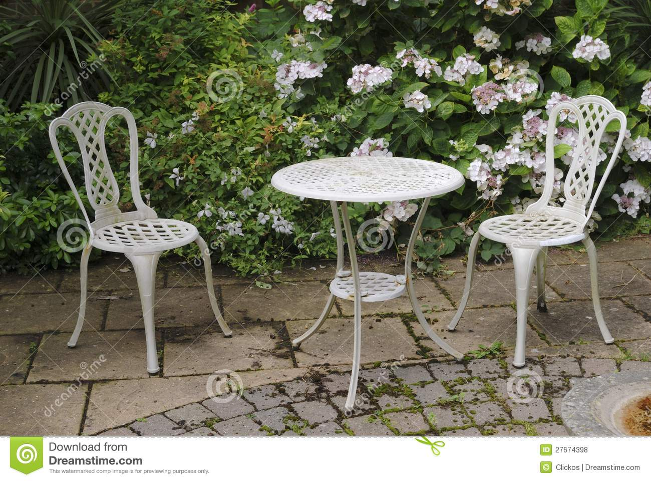 Garden Table And Chairs Garden Table And Chairs Stock Photo Image Of Paving