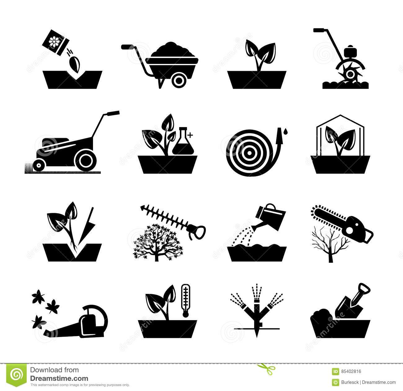 Gardening And Flowers Icons Hosepipe Lawnmower