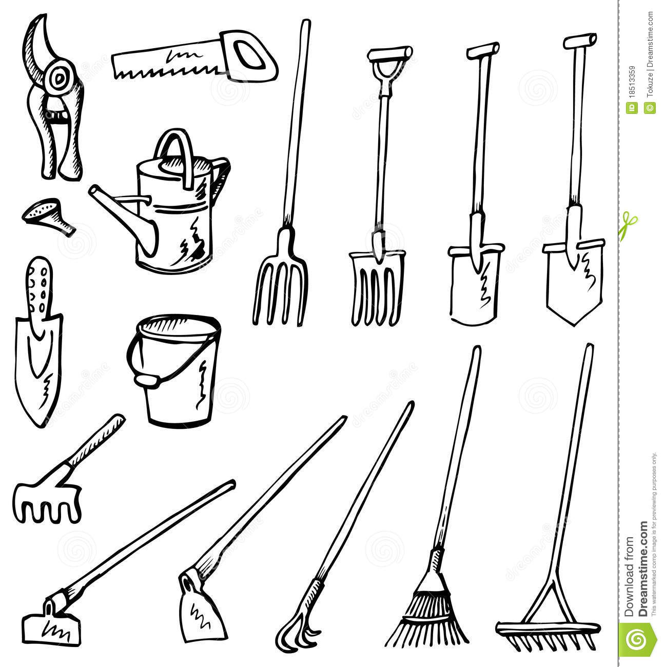 Gardening Tools Doodles Stock Vector Illustration Of