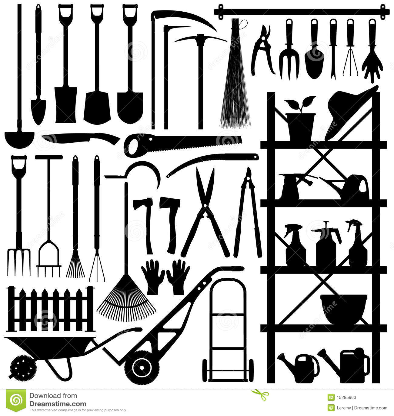 Gardening Tools Silhouette Stock Vector Illustration Of