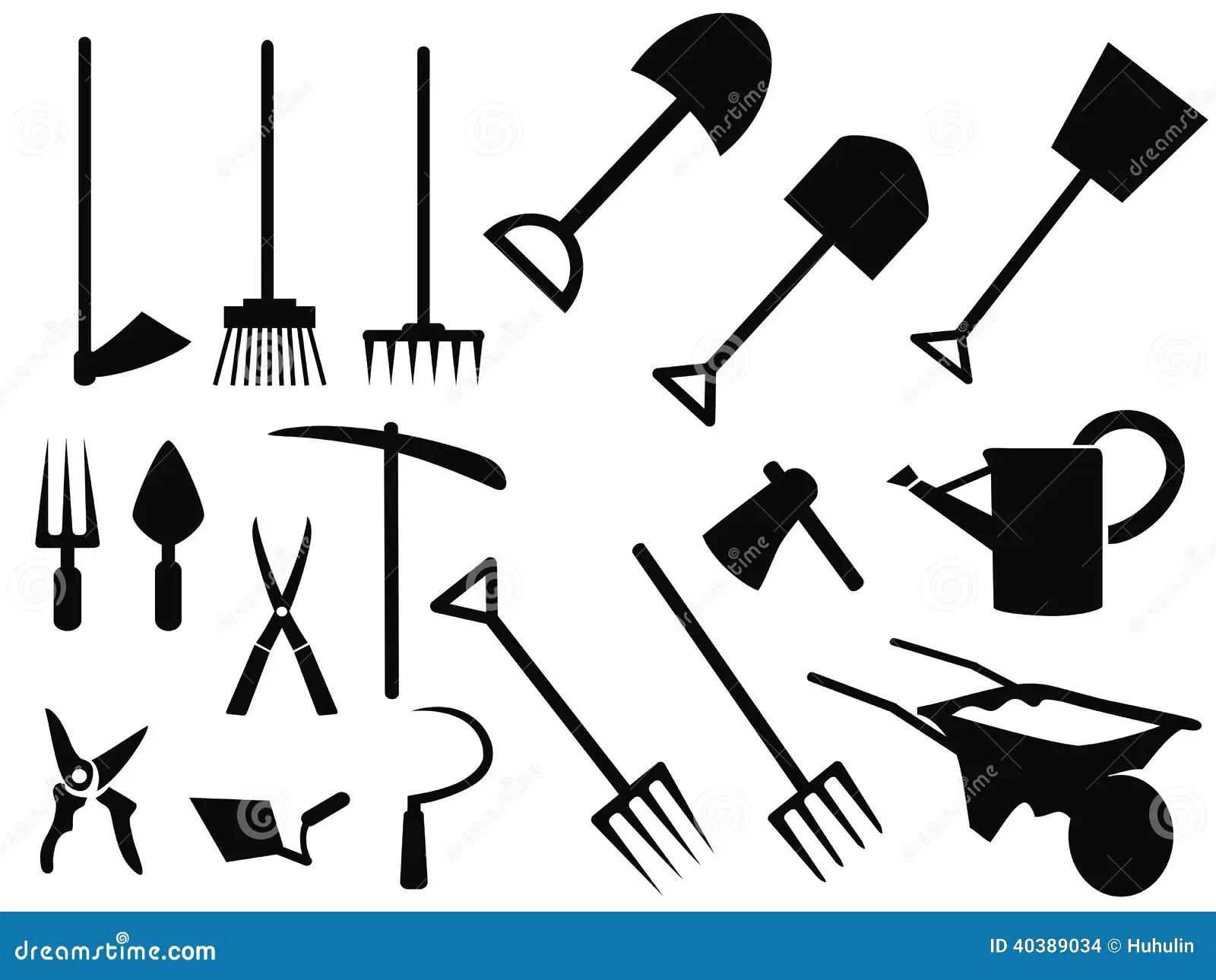 Gardening Tools Silhouette Vector Set Stock Vector