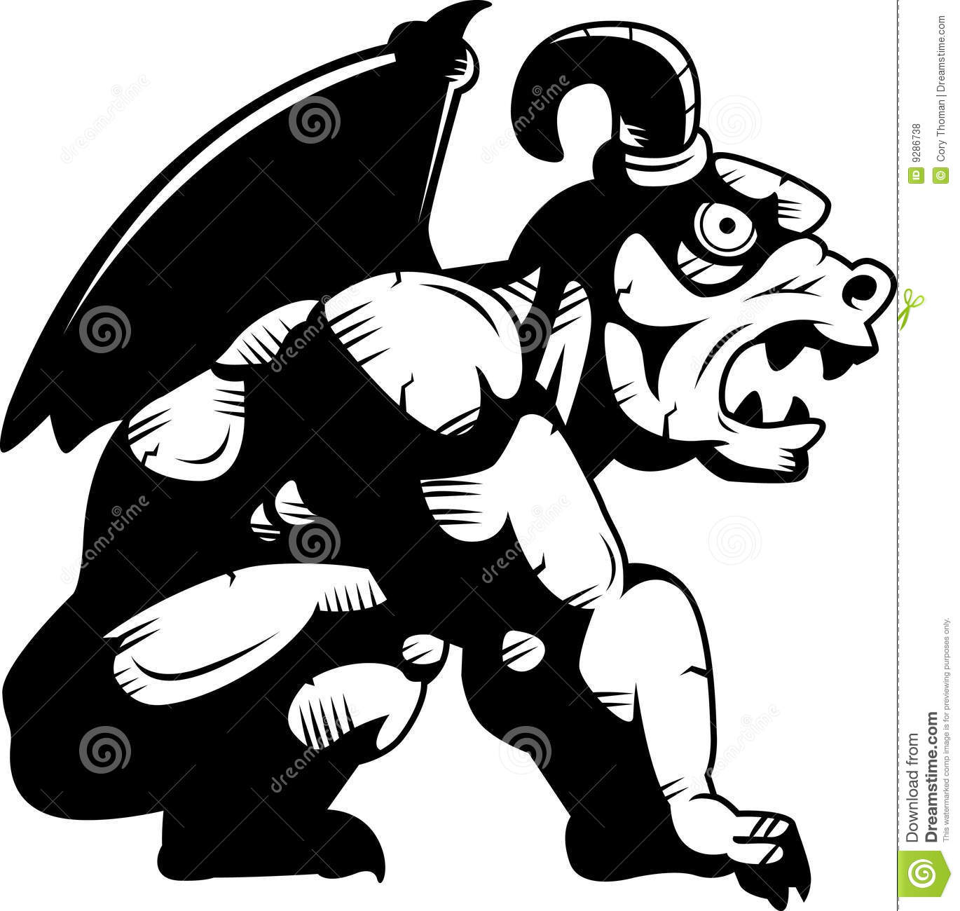 hight resolution of a gargoyle monster with wings perched