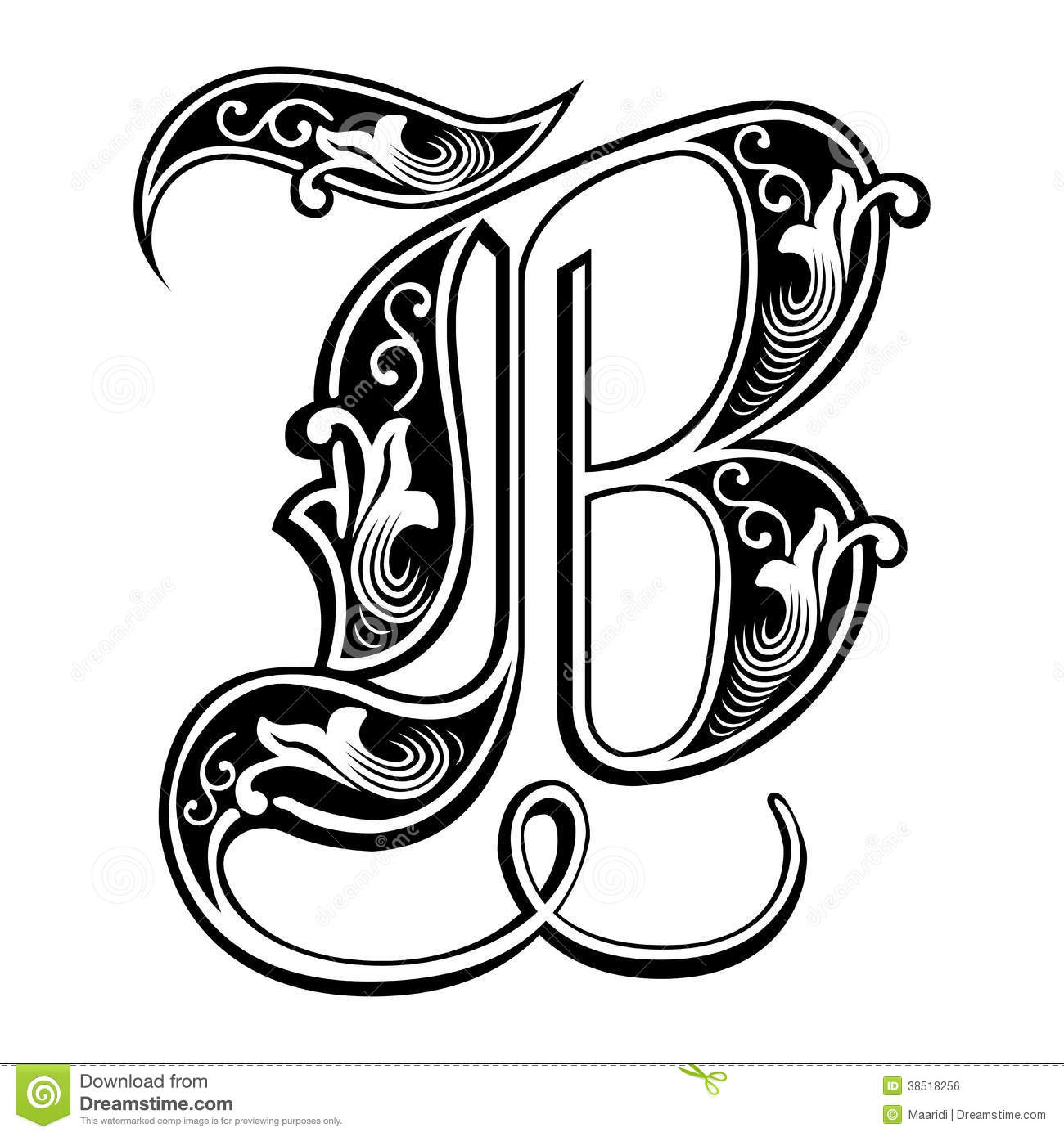 Garnished Gothic Style Font Letter B Royalty Free Stock