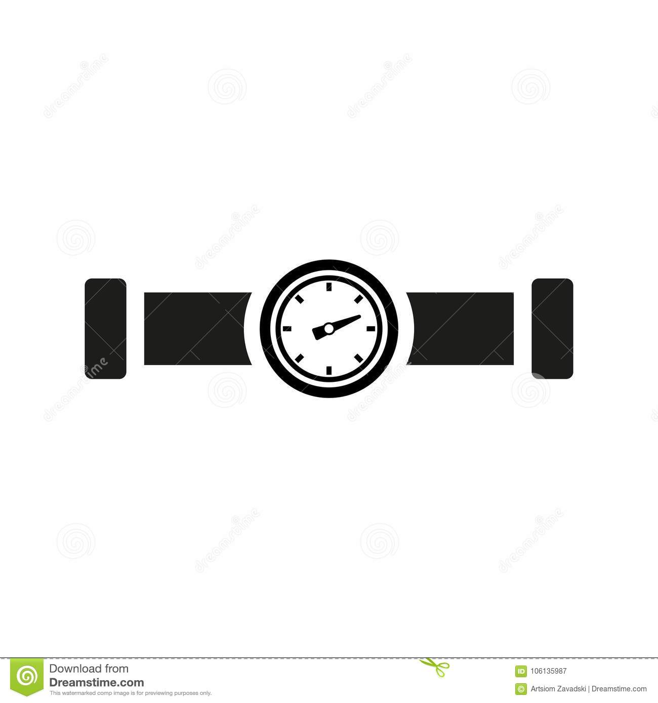 Gas Pipe Valve And Pressure Meter Vector Icon Stock Vector