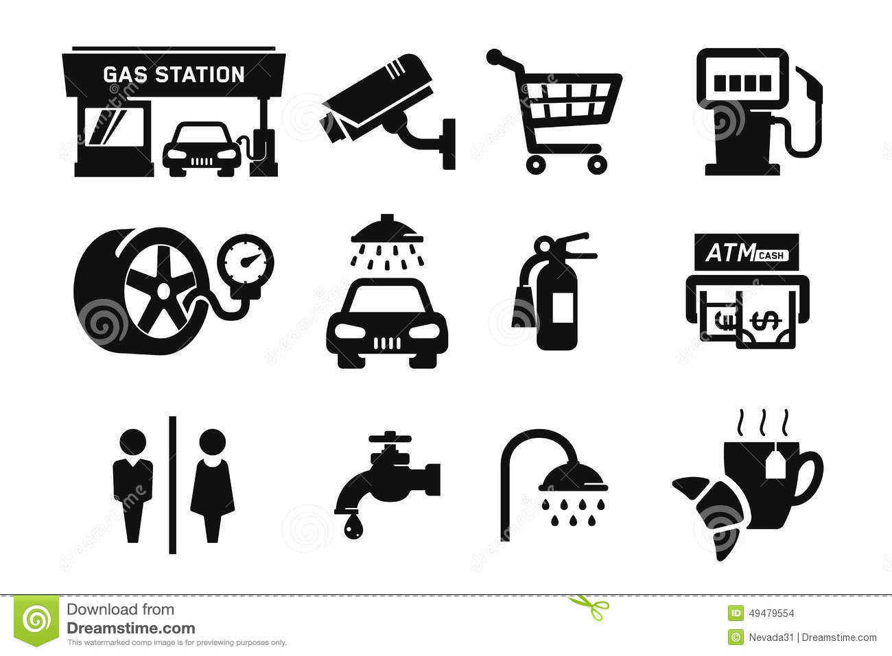 Gas station icons stock illustration. Illustration of