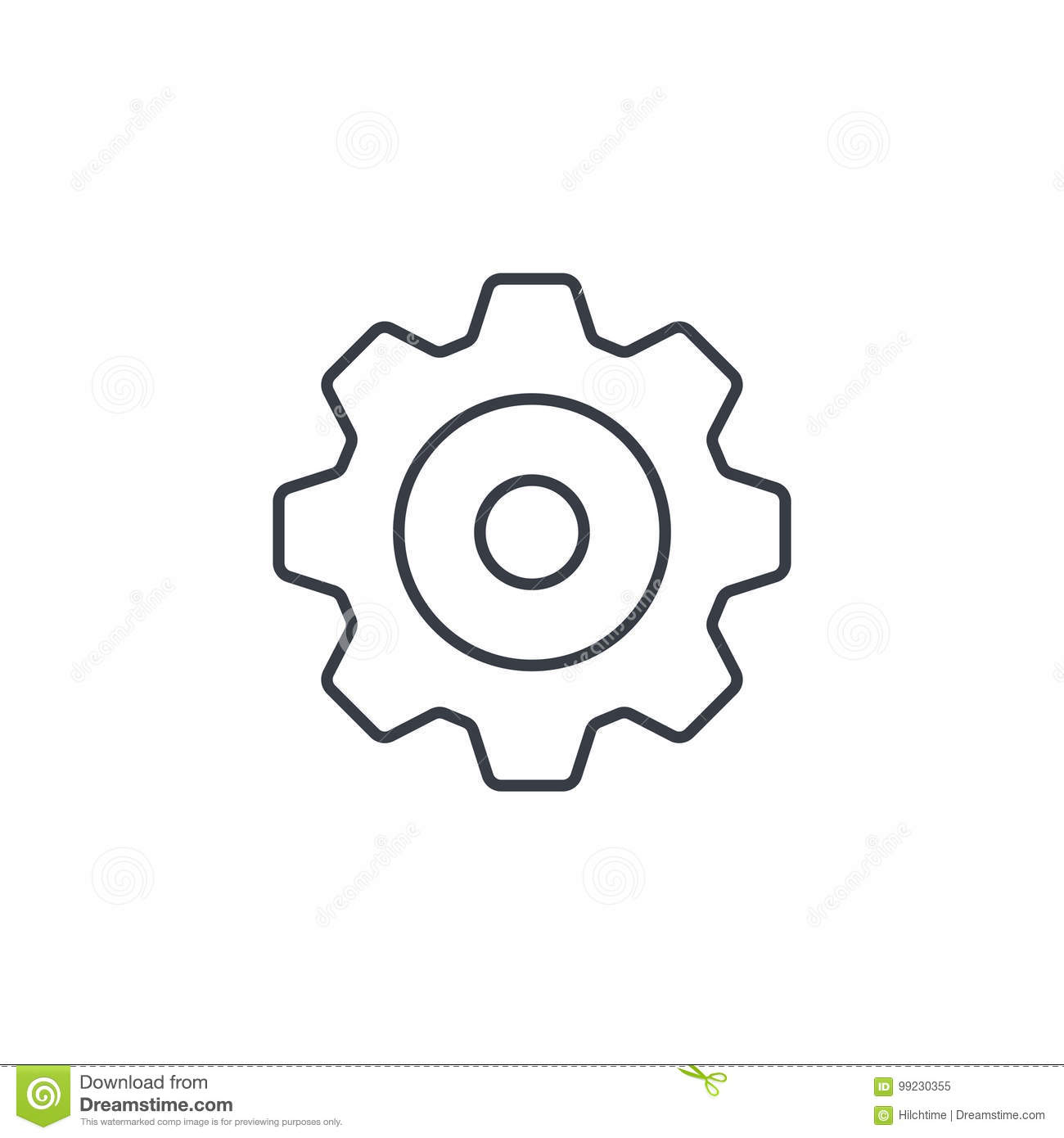 Gear Mechanism Thin Line Icon Linear Vector Symbol Stock