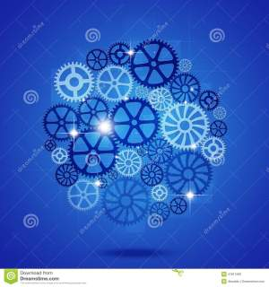 Gears In Process Blue Business Background Stock