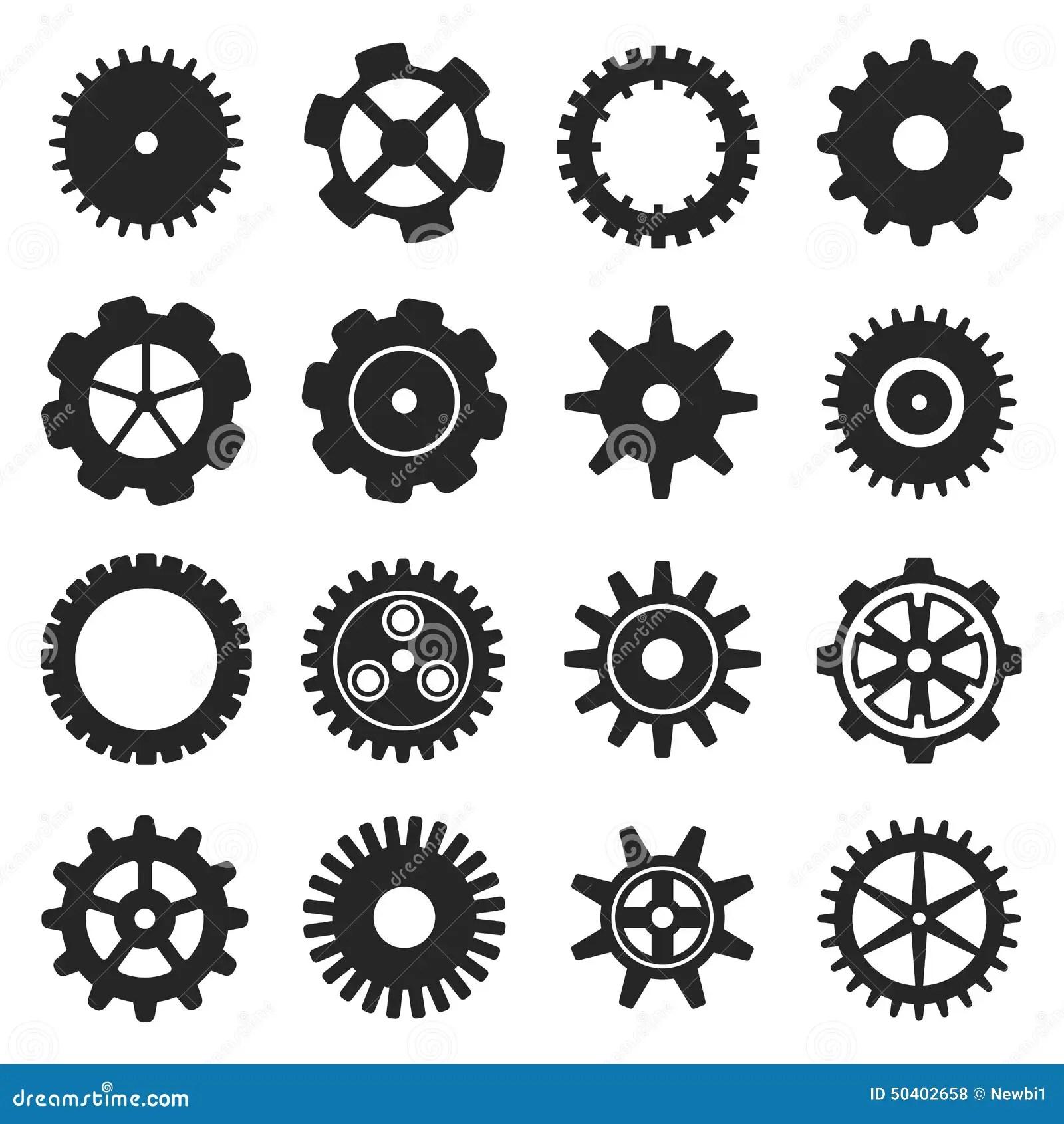 Vector Gears Icon In Scribble Style Cartoon Vector