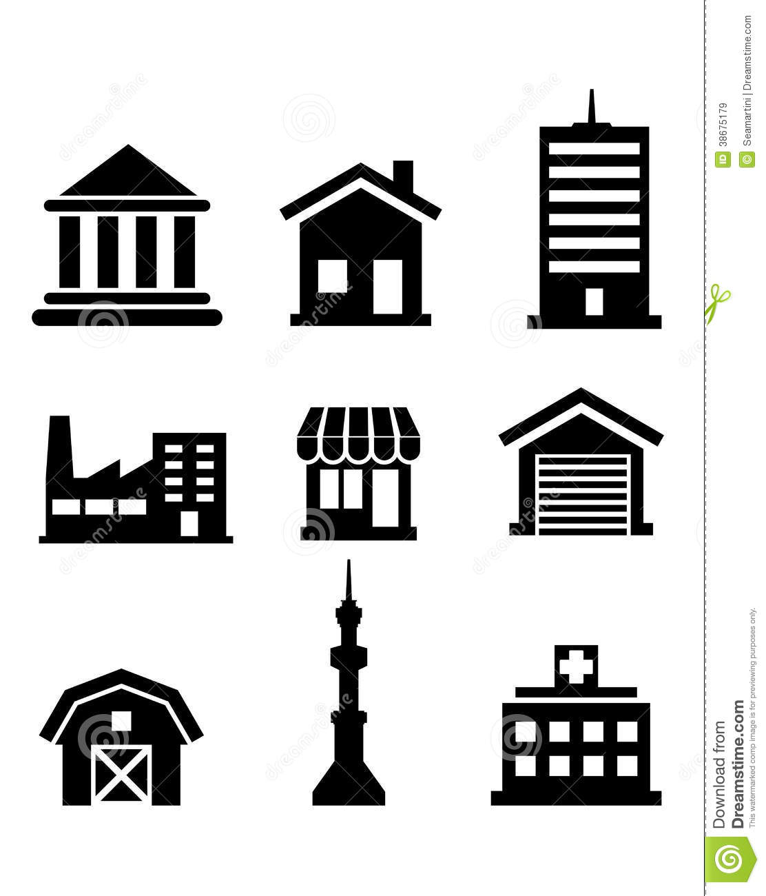 Gebouwen En Architecturale Pictogrammen Vector Illustratie