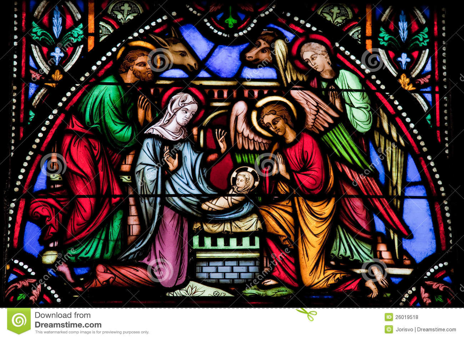 Geburt Christi Szene Stockfoto Bild Von Fromm Maria