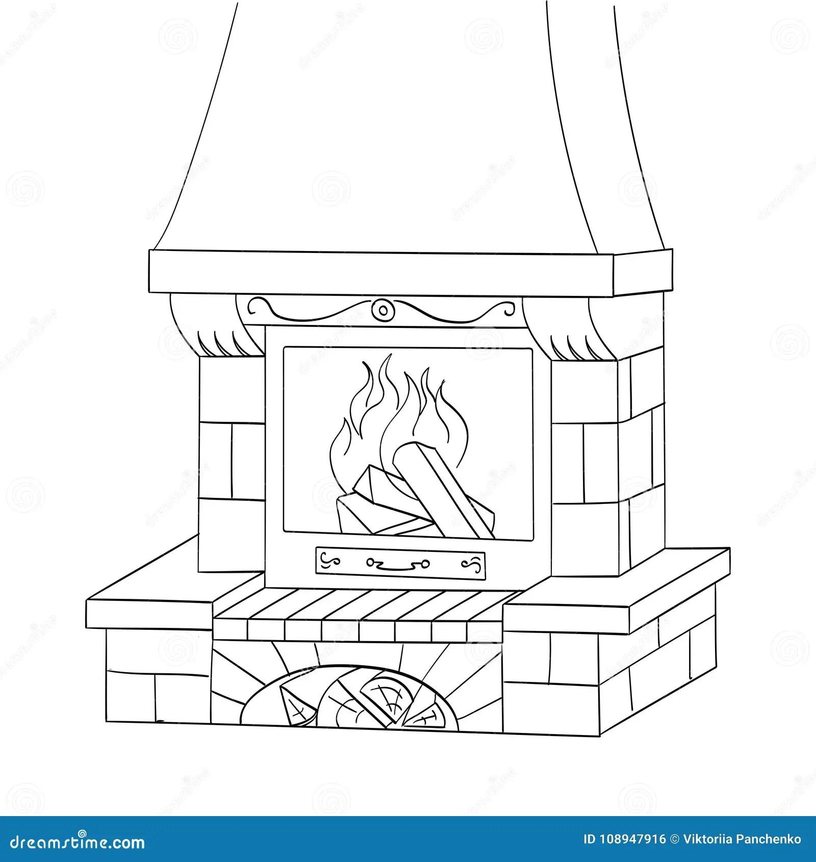 Gegenstandfarbtonvektor Ein Ziegelsteinkamin Brennt Einen