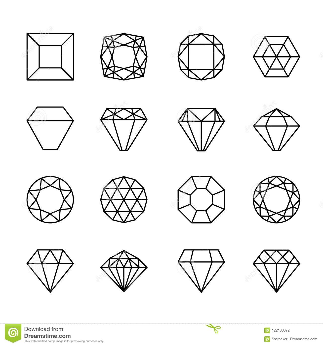 Gem Line Icons Stock Vector Illustration Of Design