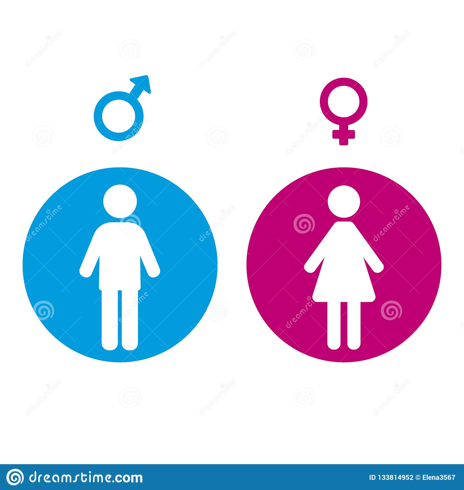 Gender Symbol Of A Man And Woman In A Circle Stock Vector Illustration Of Element Concept 133814952