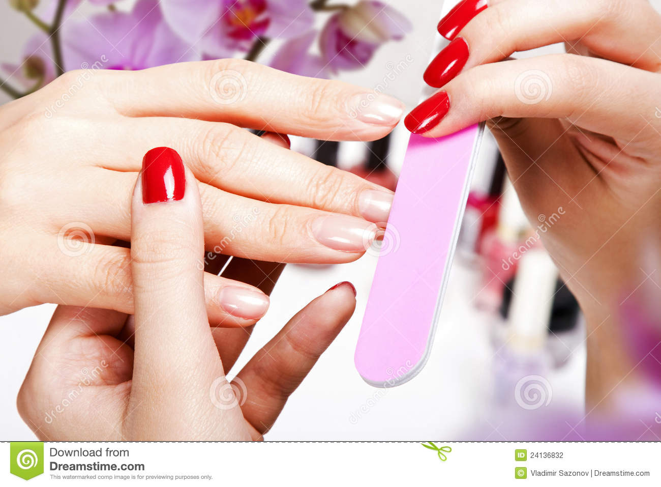 Gentle Care Of Nails In A Beauty Salon Stock Photo