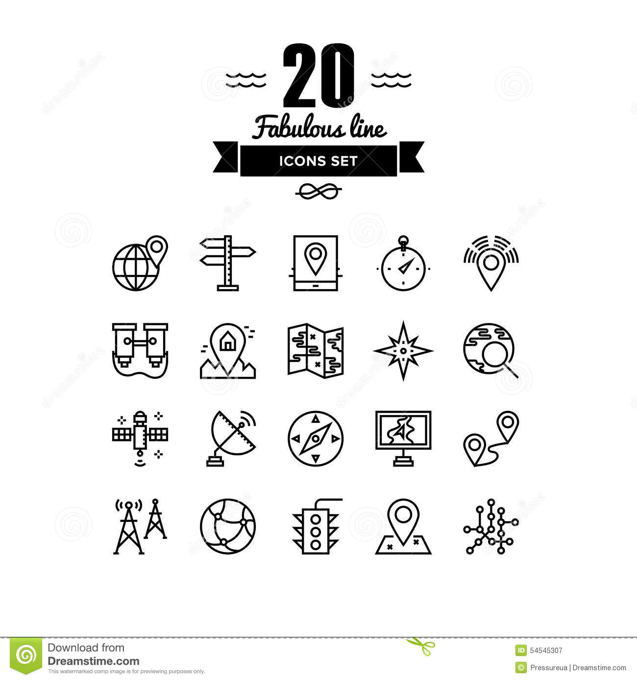 Geo Location And Navigation Line Icons Set Stock Vector