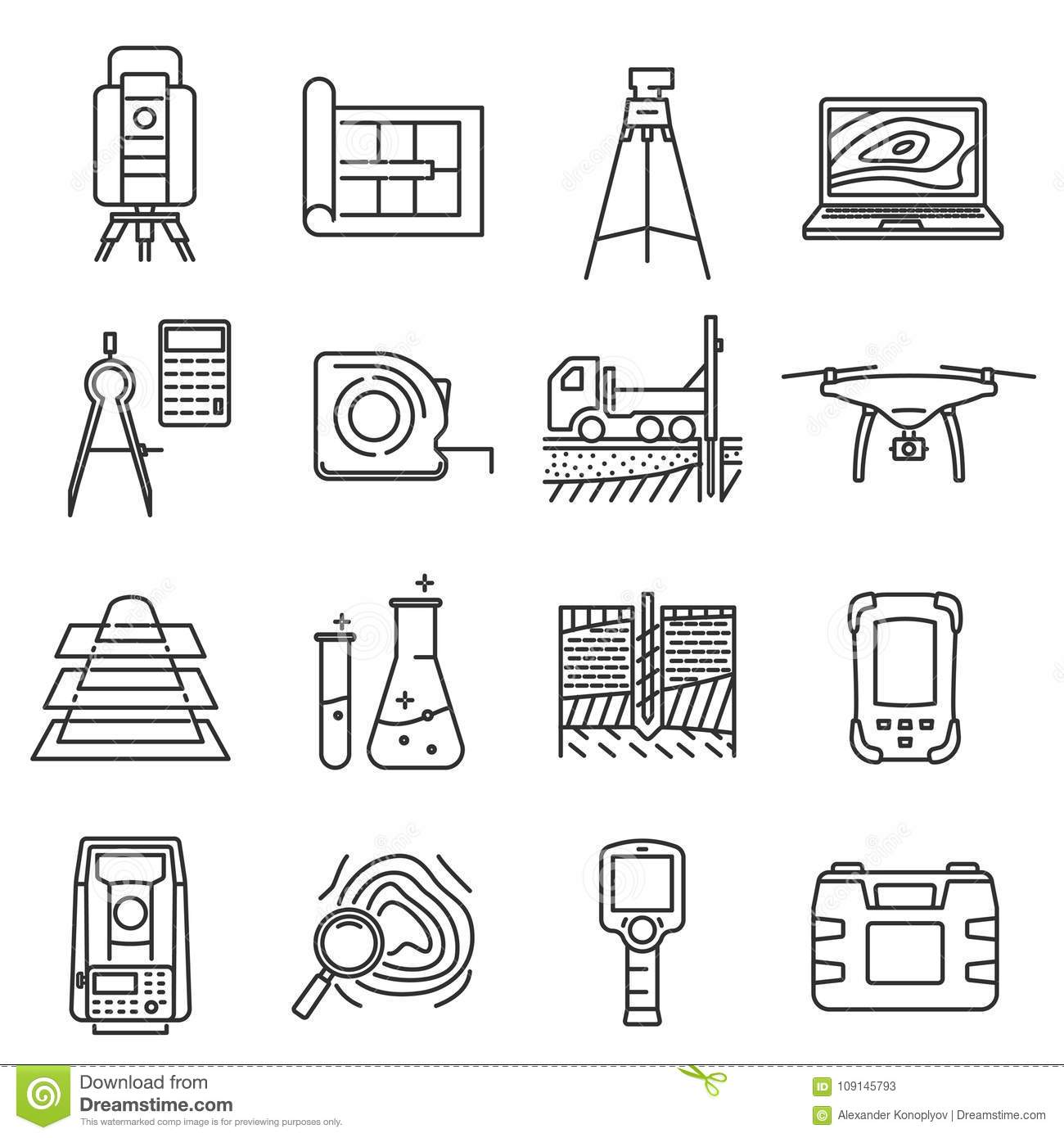 Geodetic Survey Engineering Vector Flat Line Icons
