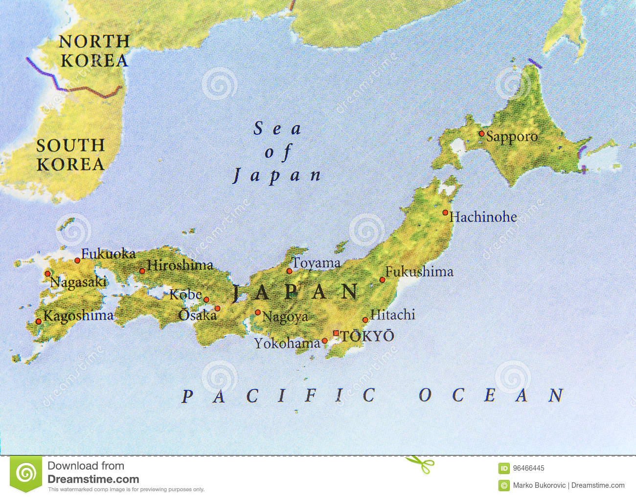 Geographic Map Of Japan With Important Cities Stock Image