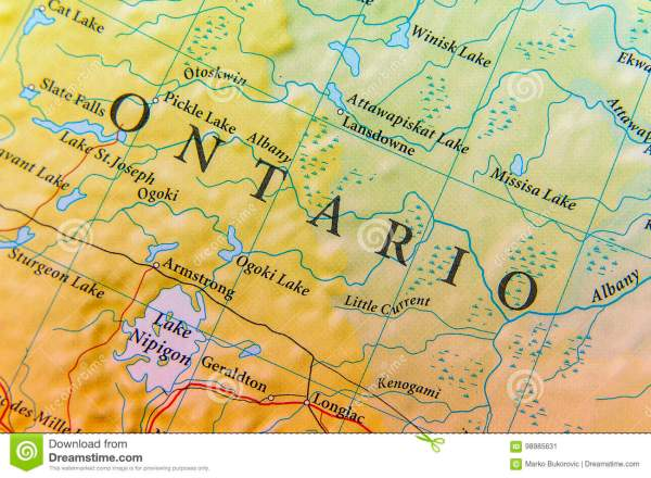 Geographic Ontario Map Close Stock Image Image of sign