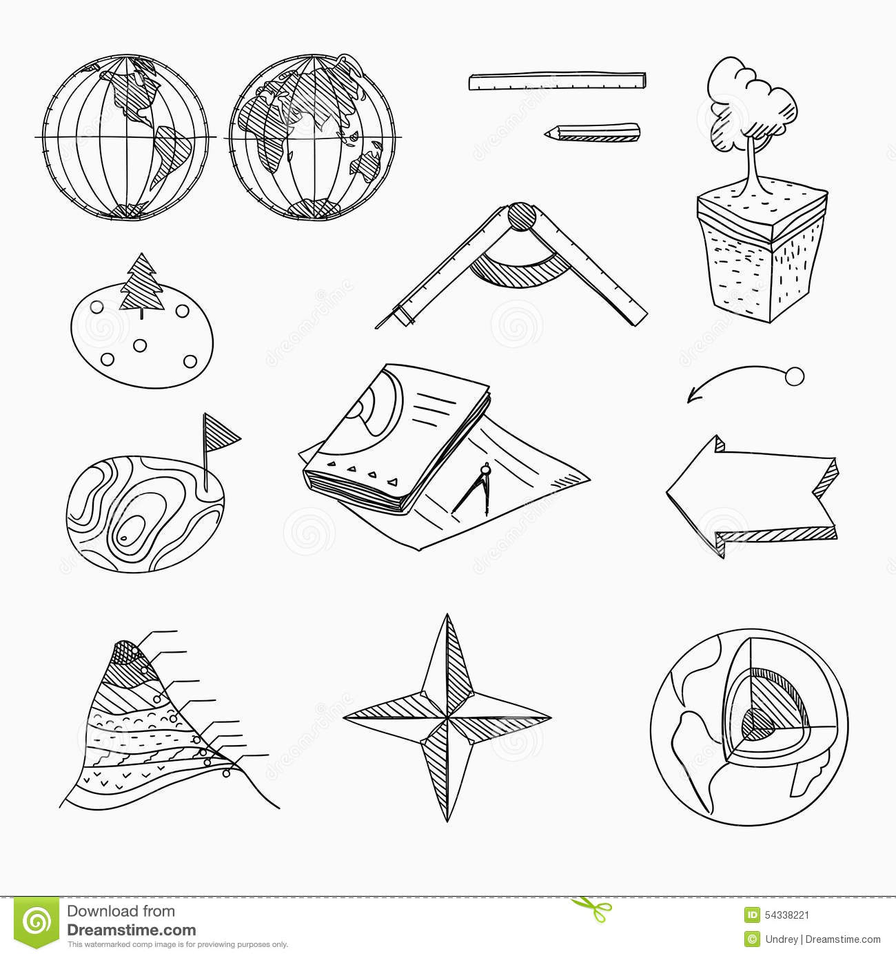 Geography Lesson School Objects And Educational Stock