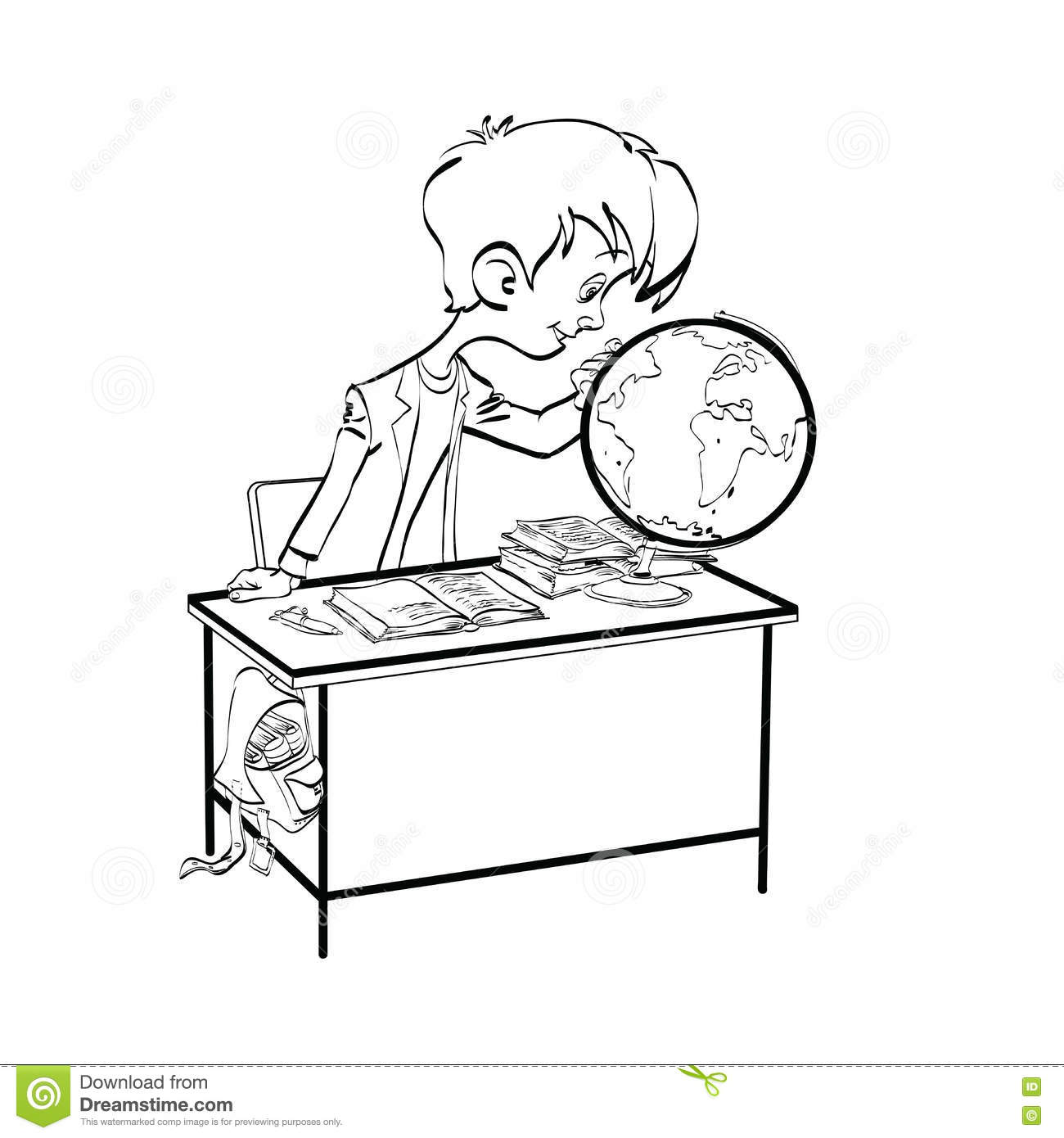 Geography, Student Boy Looking Globe Stock Vector