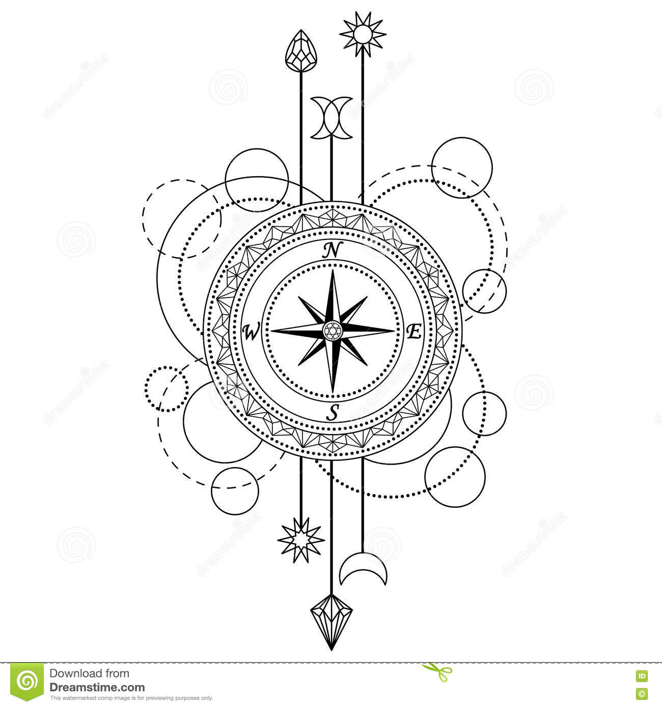 Geometric Compass Pattern Stock Vector Illustration Of