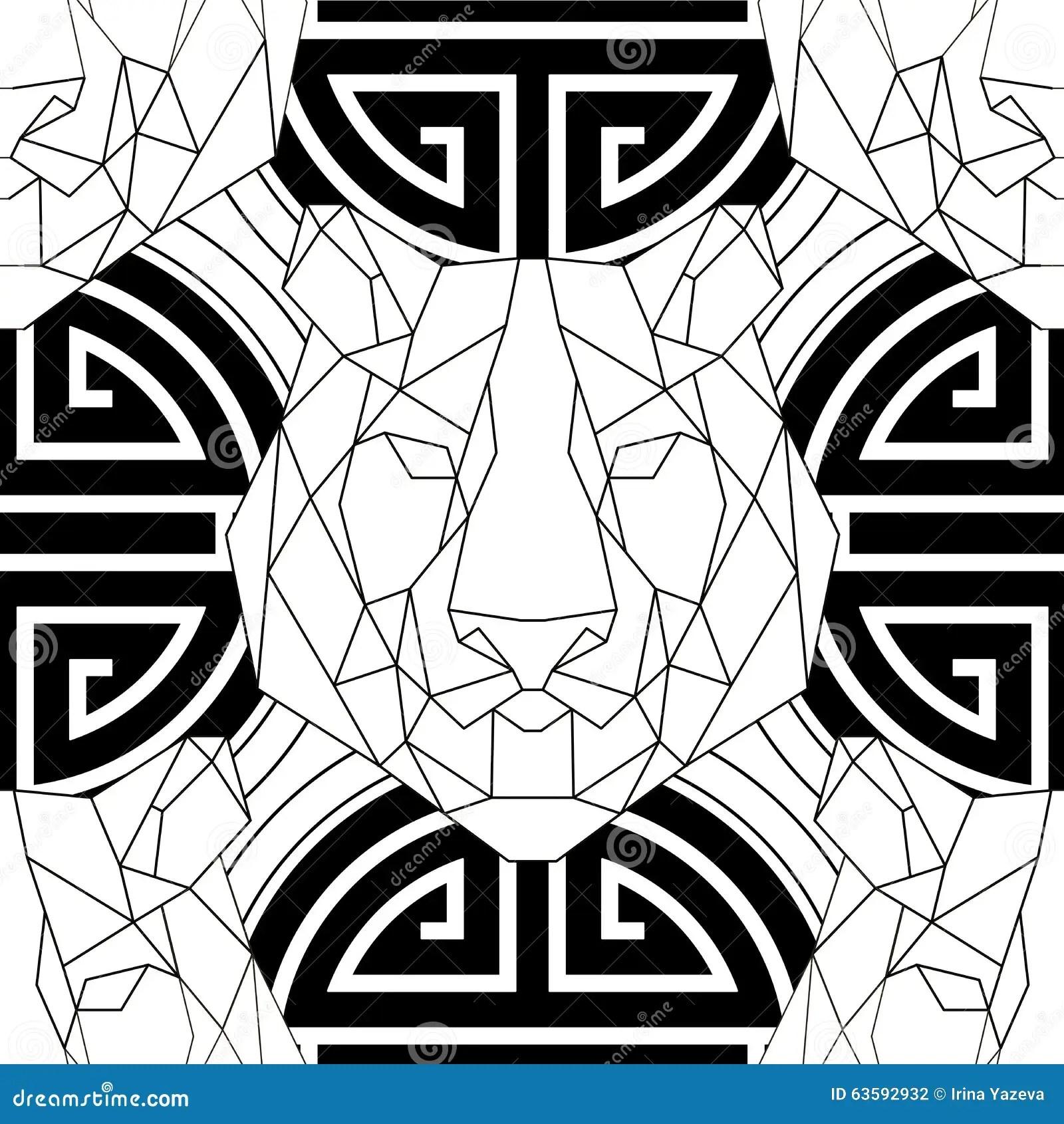 Geometric Pattern Tiger Head Trendy Line Design Stock