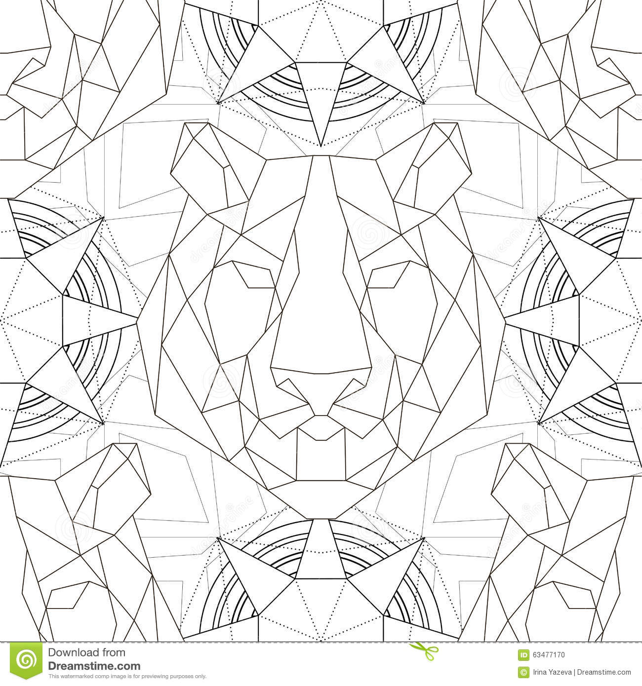 Geometric Pattern Tiger Head Trendy Line Design Stock