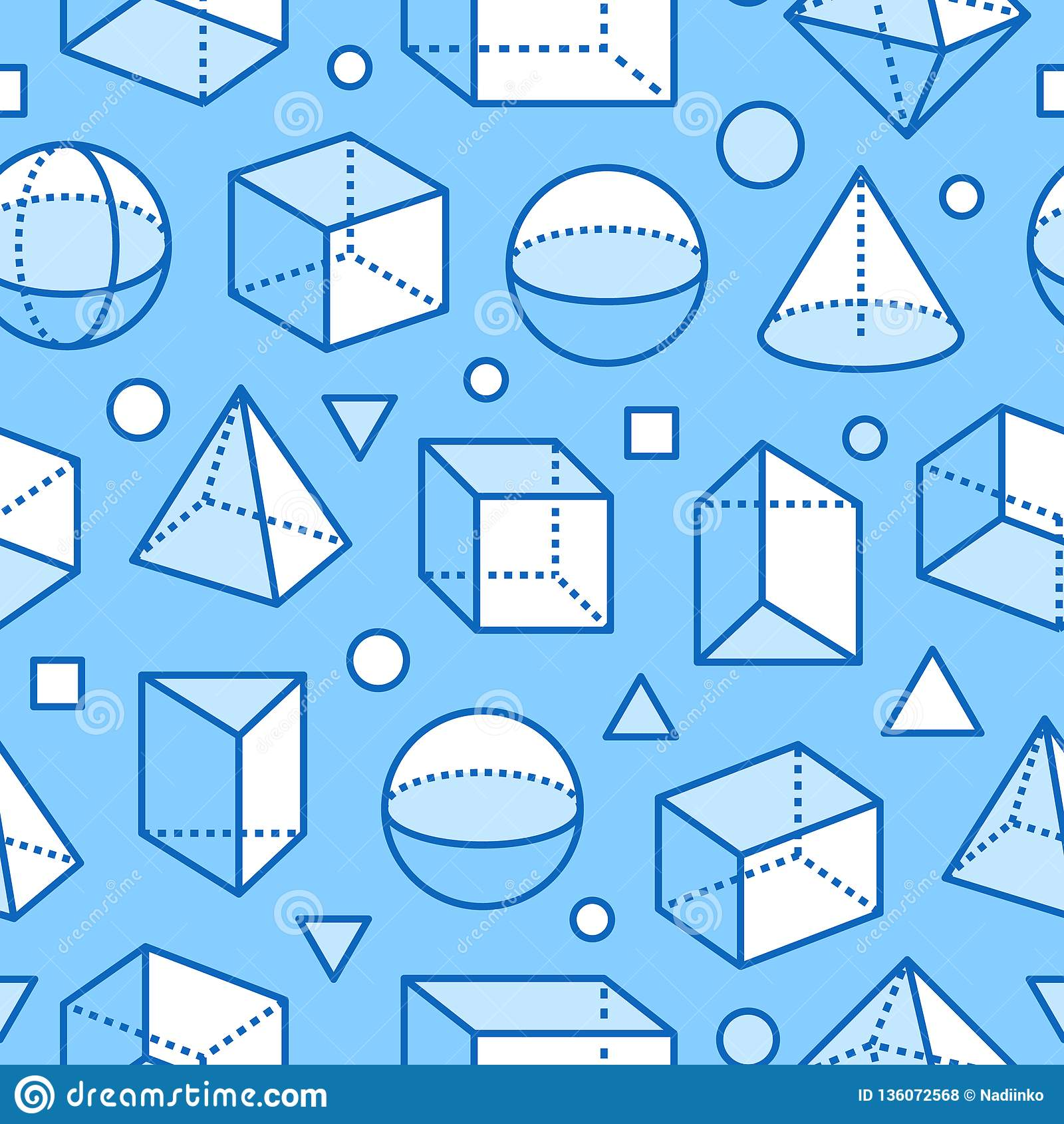 Geometric Shapes Seamless Pattern With Flat Line Icons