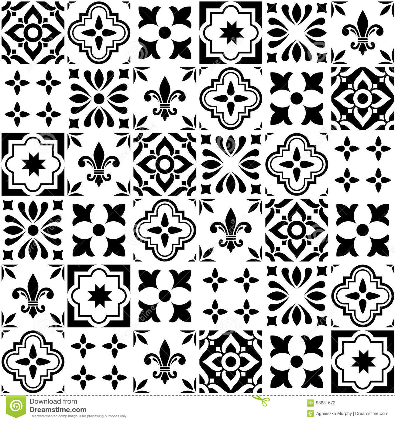Geometric Tile Design Portuguese Or Spnish Seamless Black