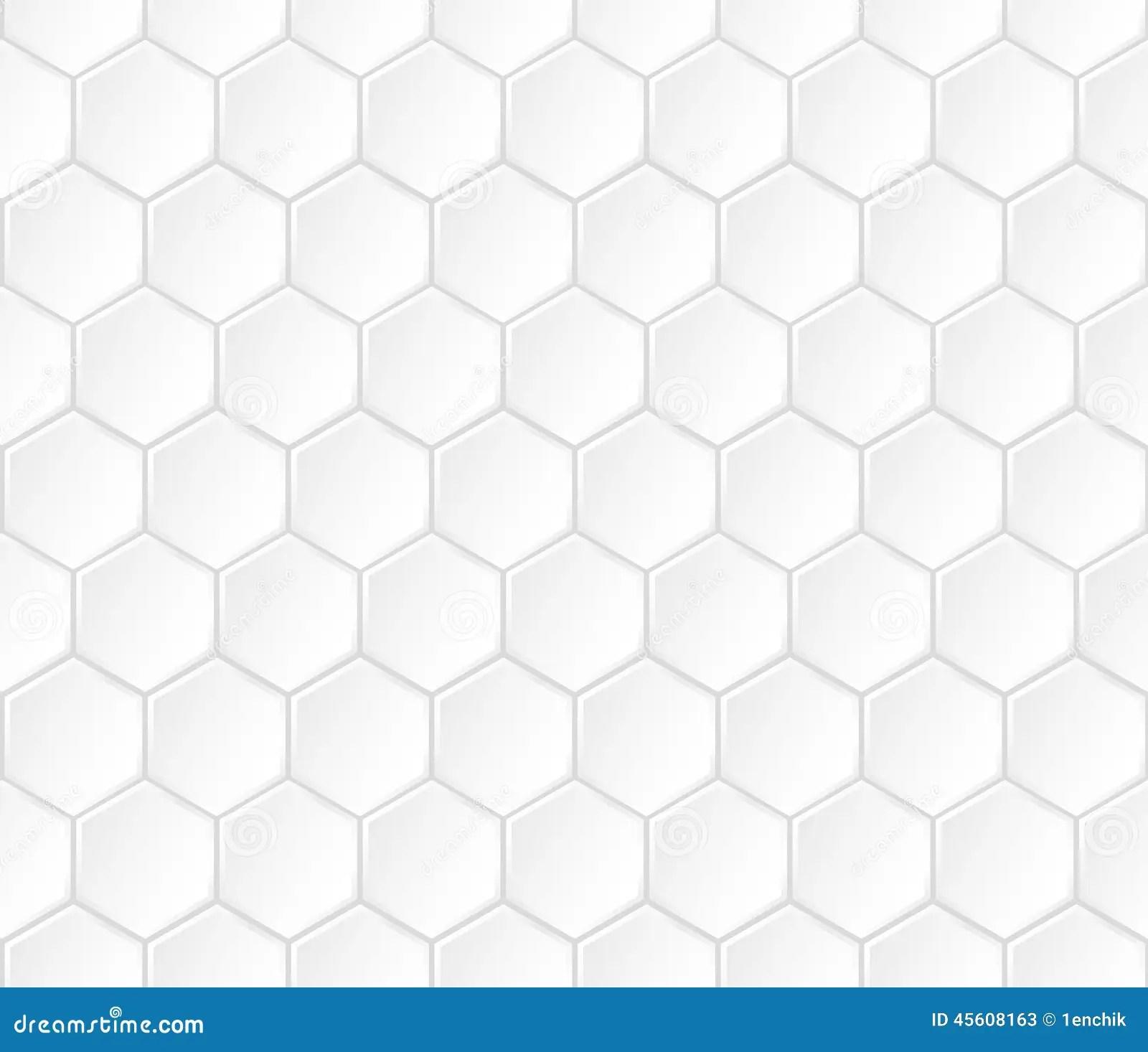 Geometric White Hexagonal Vector Seamless Pattern Stock