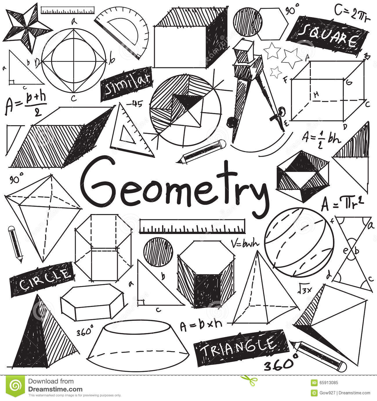 Geometry Math Theory And Mathematical Formula Doodle