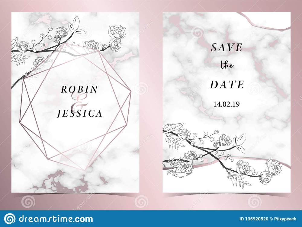 medium resolution of geometry pink gold outline wedding invitation card with rose leaf wreath feather drawing