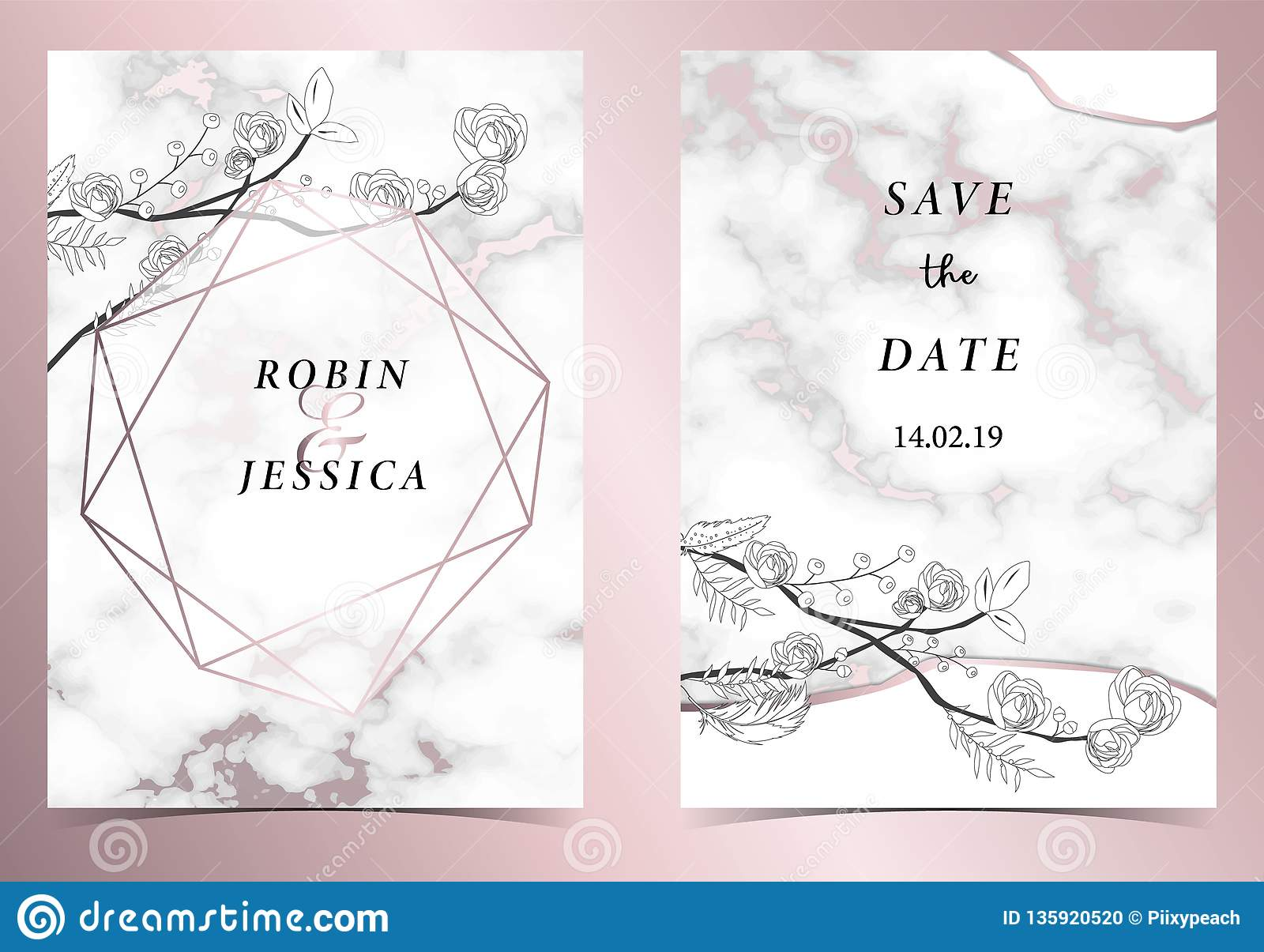hight resolution of geometry pink gold outline wedding invitation card with rose leaf wreath feather drawing