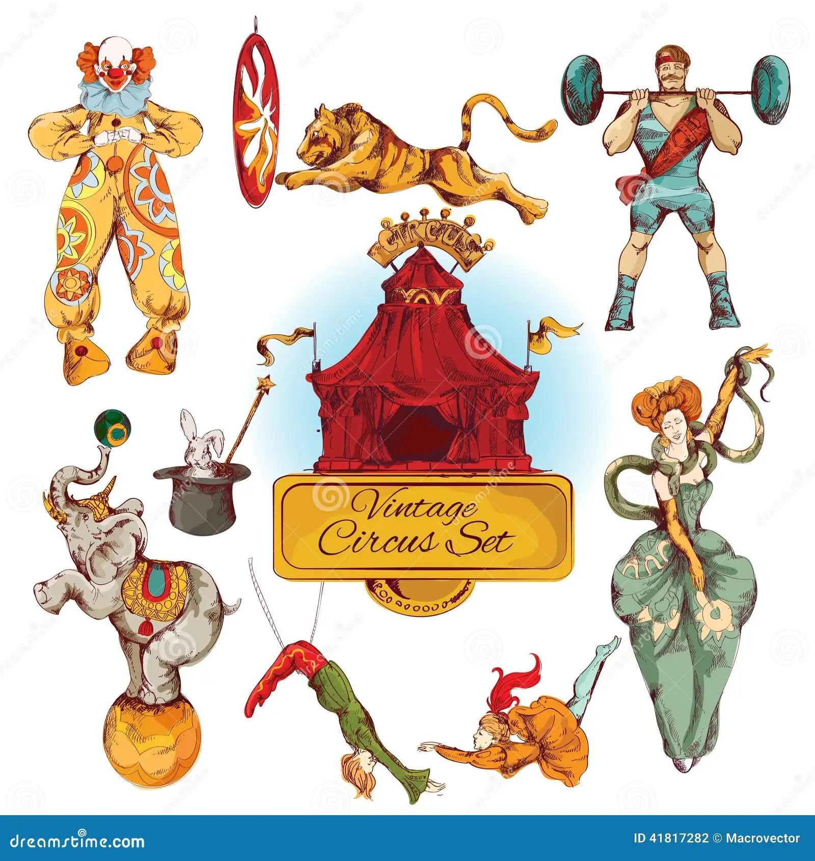 Geplaatste Circuswijnoogst Gekleurde Pictogrammen Vector