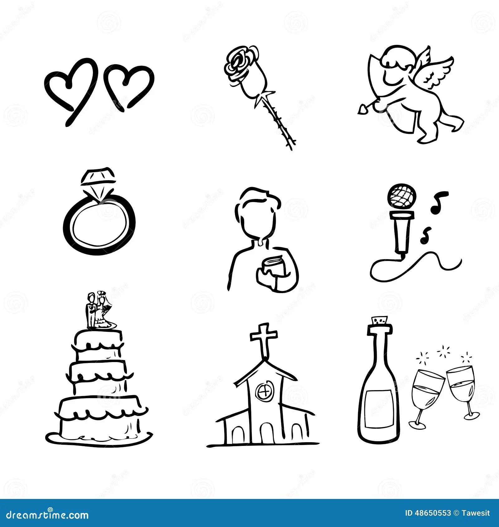Geplaatste De Pictogrammen Van De Huwelijkstekening Vector Illustratie