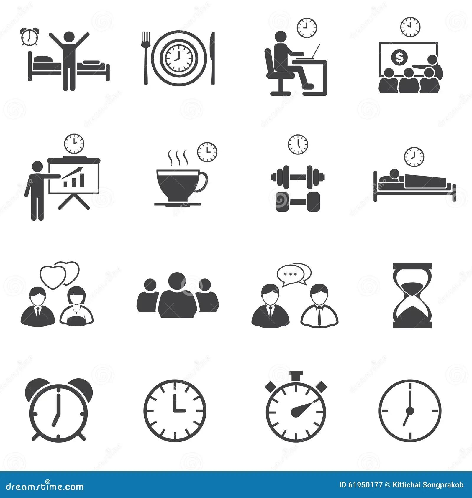 Geplaatste De Pictogrammen Van Het Activiteitendagelijkse Werk Stock Afbeelding
