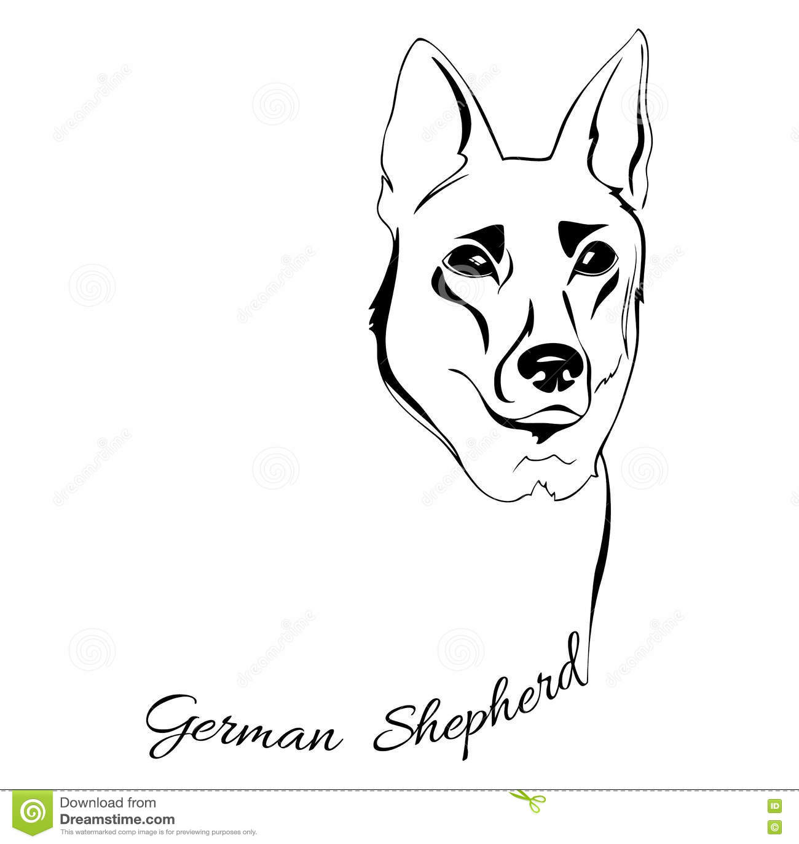 German Shepherd Dog Head Stock Vector Illustration Of